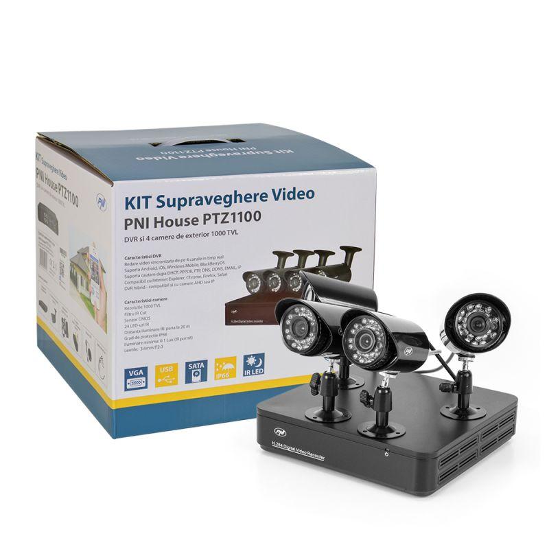Kit Supraveghere Video Pni House Ptz1100 - Dvr Si 4 Camere Exterior 1000 Linii Pni-ptz1100