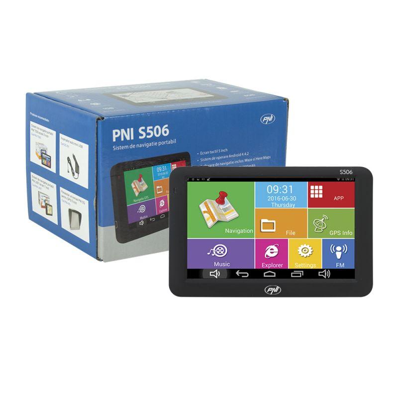 Sistem De Navigatie Portabil Pni S506 Ecran 5 Inch Android Si Waze Cu Radarele Din Romania Pni-s506