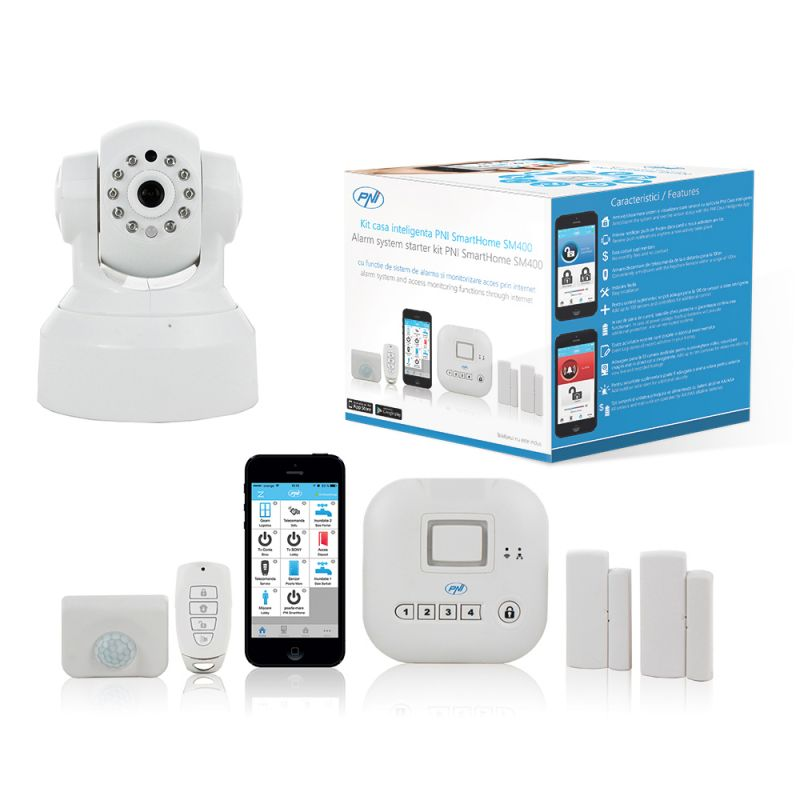 Kit Casa Inteligenta Pni Smarthome Sm400 + Camera Video Sm460 Sistem De Alarma Si Monitorizare Video Prin Internet Pni-sm400-sm460