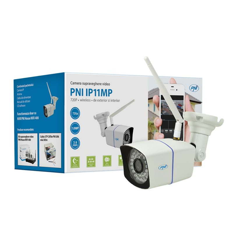 Camera Supraveghere Video Pni Ip11mp 720p Wireless Cu Ip De Exterior Si Interior Pni-wf11mp