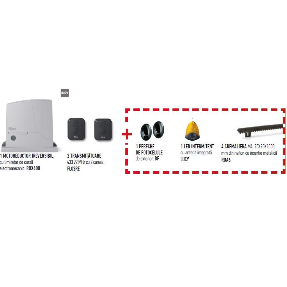 Kit Full De Automatizare Nice Rox600klt Pentru Poarta Culisanta Pana La 600kg