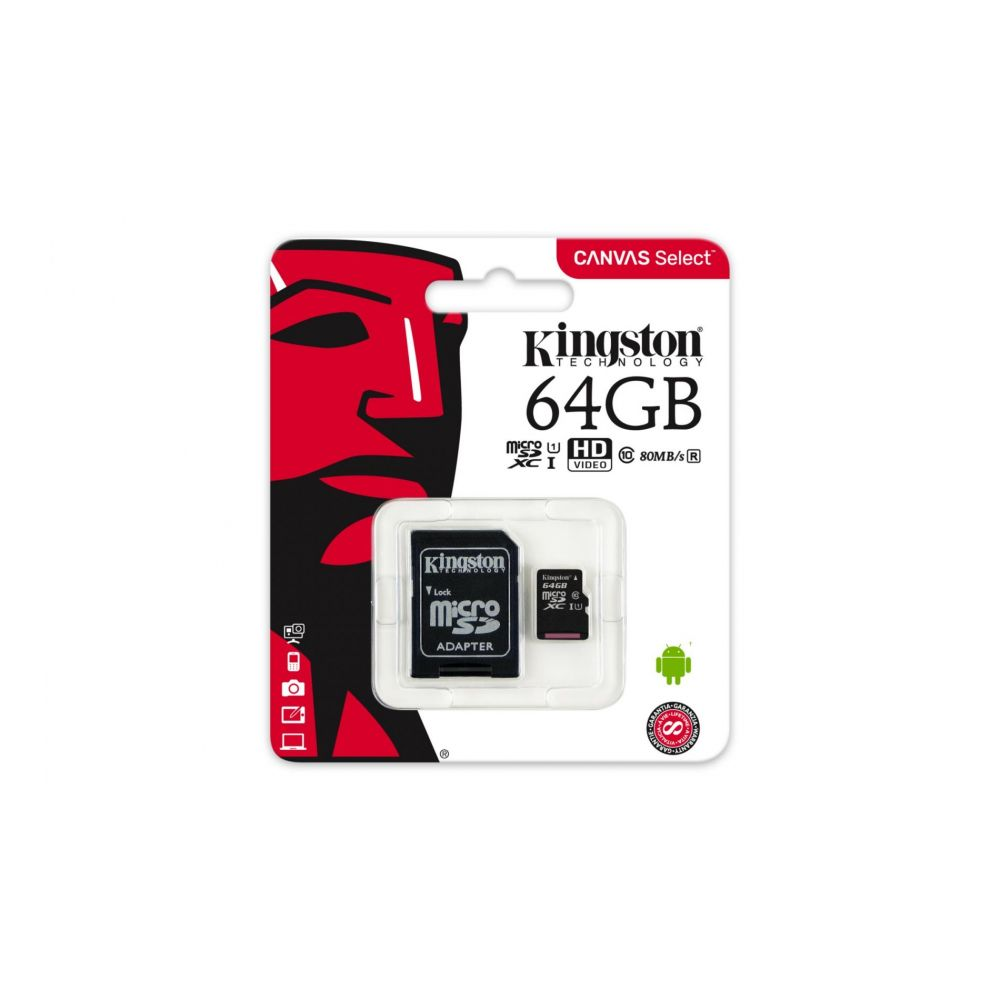 Card microSD Kingston SDCS/64GB Canvas Select 80 clasa 10 UHS-I