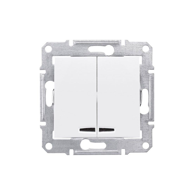 Intrerupator dublu cu led 10AX alb Schneider Sedna SDN0300321