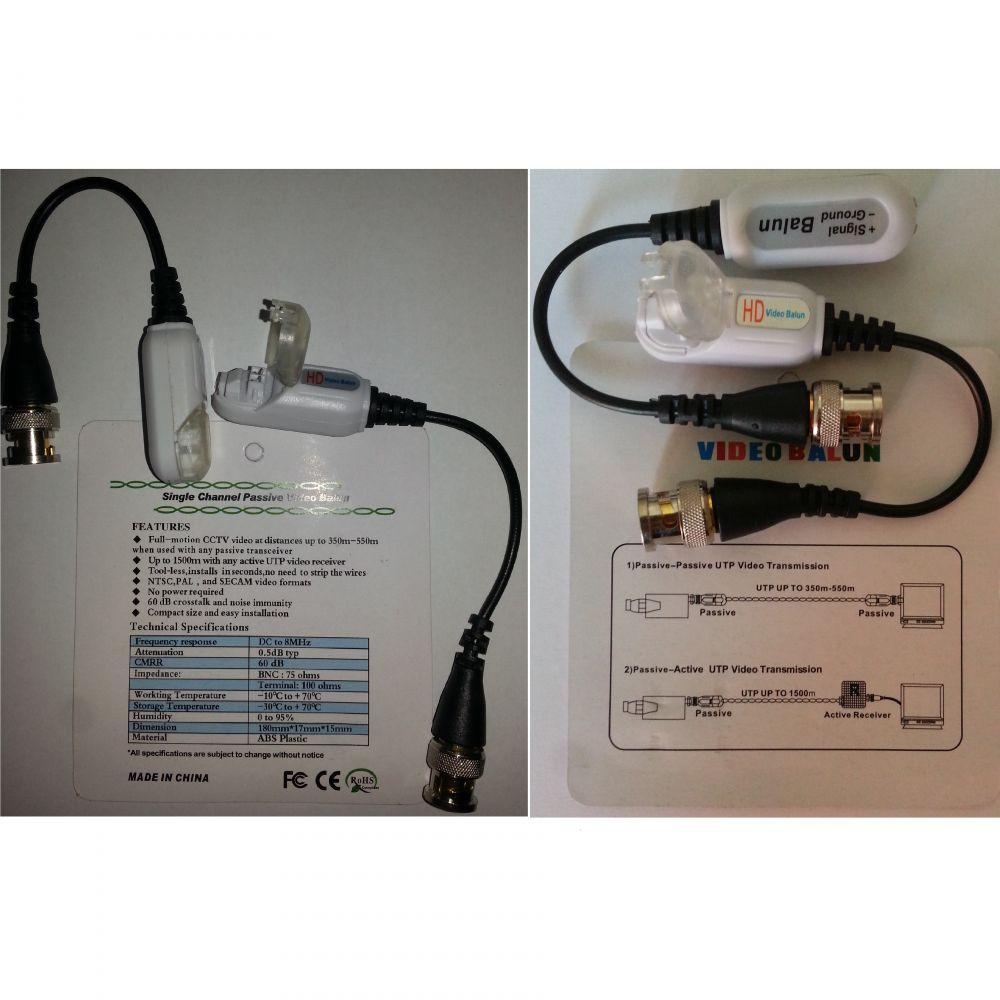Set 2 Adaptori Cctv Video Balun Hd Pasiv Bnc Pe Fir 550m / 1500m - Cu Prindere Prin Presare