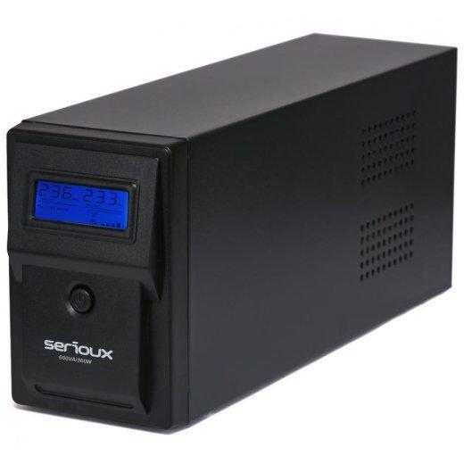 UPS Serioux 600VA Line Interactive 600VA/360W 2 porturi Schuko RJ45 +USB carcasa metalica functie AVR repornire automata SRXU-600LI