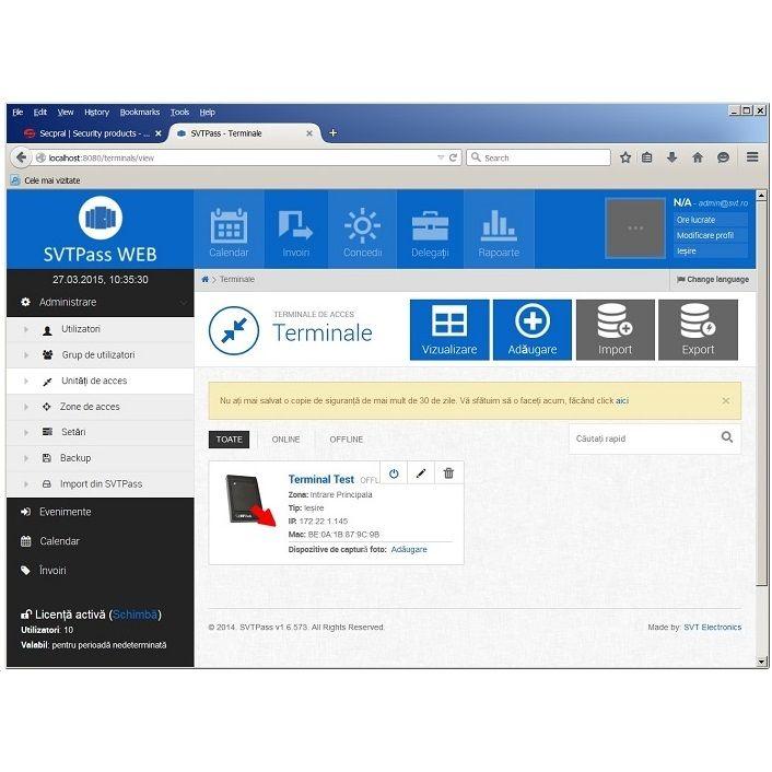 Licenta software pentru 1000 de utilizatori SVTECH SVT PASS WEB 1000