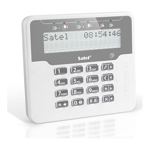 Tastatura alarma Satel VERSA-LCDR-WH Afisaj LCD Cititor proximitate integrat Compatibila VERSA/VERSA Plus