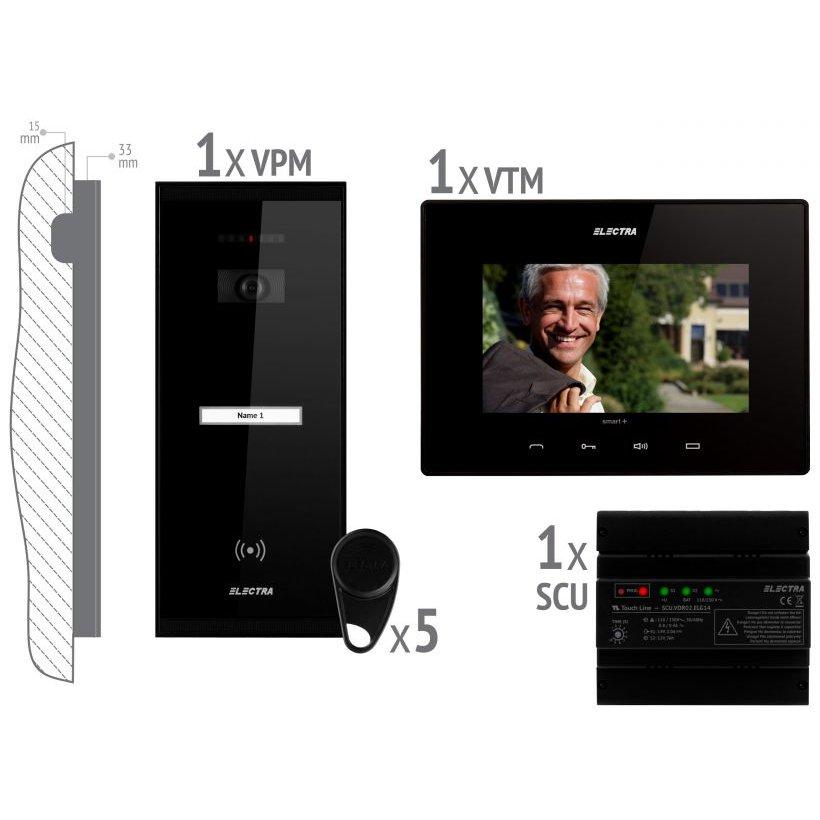 KIT videointerfon pentru 1 familie Electra VKM.P1SR.T7S4.ELB04 montaj aplicat