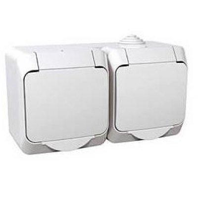Priza dubla aparenta cu capac Cedar Plus Schneider WDE000523