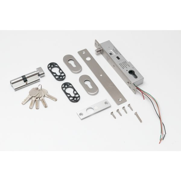 Bolt electric (fail-secure) cu temporizare senzor magnetic monitorizare cilindru cu cheie si led de stare frontal YB-500C(LED)